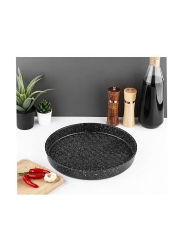 Taç Granit Döküm Yuvarlak Tepsi 32 Cm-Siyah Siyah